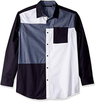 Sean John Men's Tall Size Long Sleeve Contrast Patch Button Down Shirt