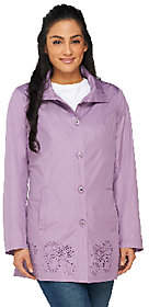 Dennis Basso Water Resistant Perforated Anorakwith Hood