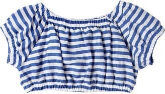 MonnaLisa Striped Linen Blend Crop Top