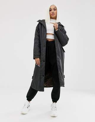 Asos Design DESIGN maxi raincoat with animal fleece lining