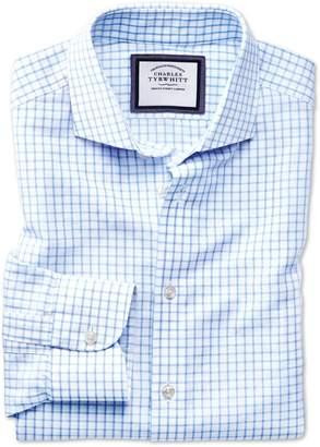 Charles Tyrwhitt Slim Fit Spread Collar Business Casual Linen Cotton Sky Blue Cotton Linen Mix Dress Shirt Single Cuff Size 15/33