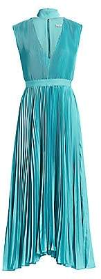 Alice + Olivia Women's Joleen Pleated V-Neck Midi Dress