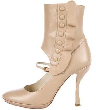Prada Leather Round-Toe Ankle Boots