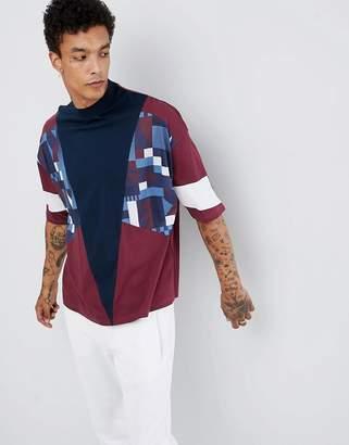Asos Design DESIGN oversized t-shirt with half sleeve and retro panel print