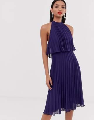 a5b2cc3e2a Asos Design DESIGN halter tie neck midi dress in pleat