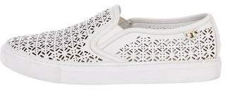 Tory Burch Leather Round-Toe Slip-On Sneakers