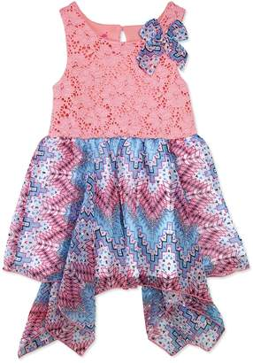 Nannette Girls 4-6x Nanette Printed Swiss Dot Chiffon Dress