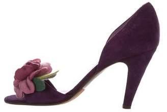L'Autre Chose Suede Floral Sandals