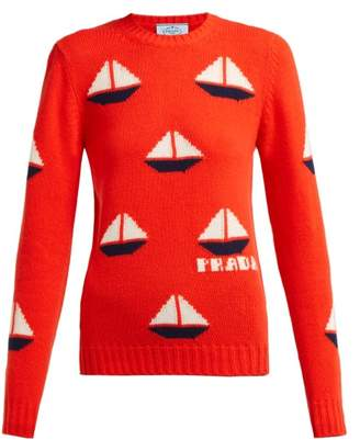 Prada Sailboat Intarsia Wool Blend Sweater - Womens - Orange Multi