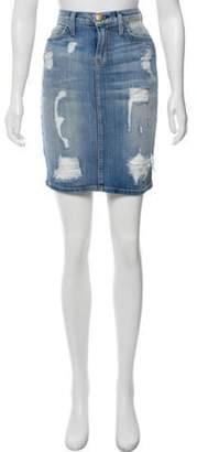 Current/Elliott Distressed Denim Skirt blue Distressed Denim Skirt