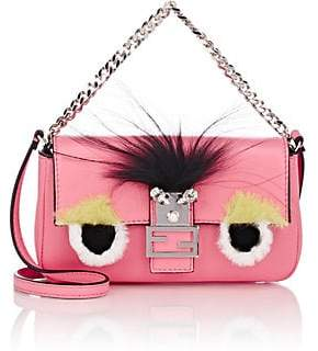 Fendi Women's Eye-Accented Leather Baguette Micro - Fluo Pink +Mlc +Pal