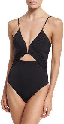 Nanette Lepore Origami Pleats Goddess One-Piece Swimsuit, Black $160 thestylecure.com