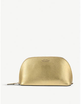 Smythson Panama metallic-leather cosmetics case