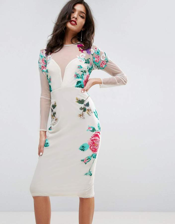Asos ASOS Floral Embroidered Midi Dress