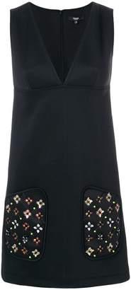 Versus embellished pocket satin shift dress