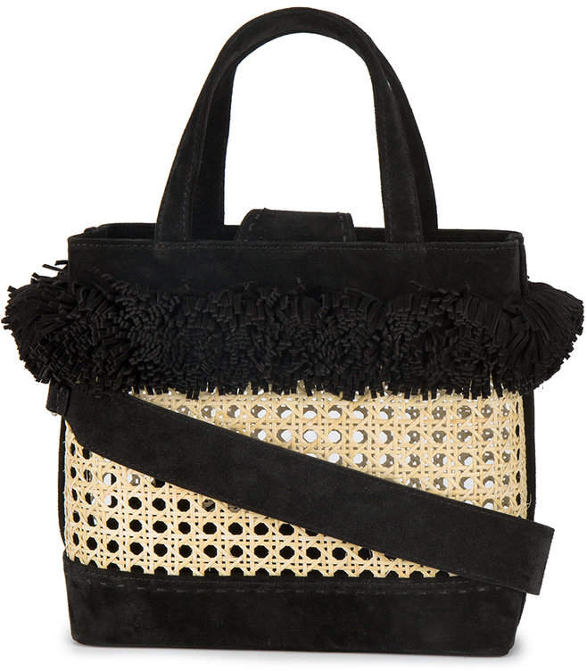 Mehry Mu Fey pom pom bamboo basket bag