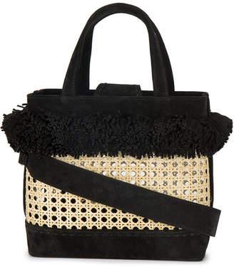 Mehry Mu Black Fey pom pom bamboo basket bag