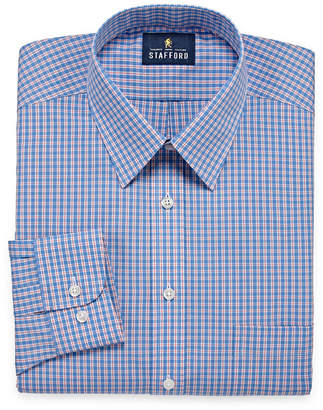 STAFFORD Stafford Travel Performance Super Long Sleeve Broadcloth Checked Dress Shirt- Big And Tall