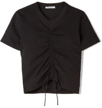 Gathered Stretch-cotton Jersey T-shirt - Black