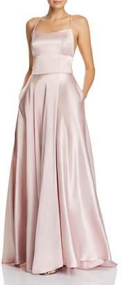 Aqua Satin Cross-Back Gown - 100% Exclusive