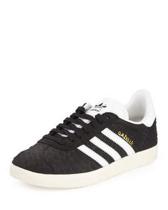 Adidas Gazelle Original Snake-Embossed Sneaker, Black/Crystal White $100 thestylecure.com