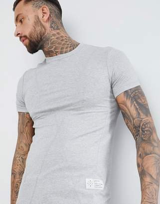 Religion Longline Muscle Fit T-Shirt In Gray