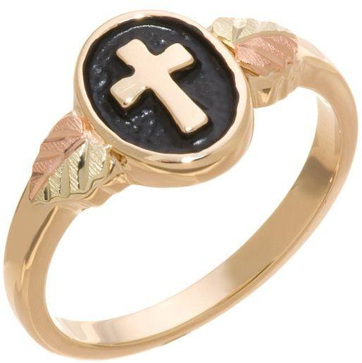 10k Gold Antiqued Cross Ring