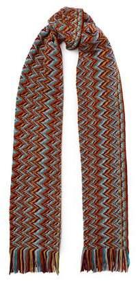 Missoni Fringed Crochet-Knit Wool-Blend Scarf