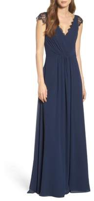 Paige Hayley Occasions Lace & Chiffon Cap Sleeve Gown