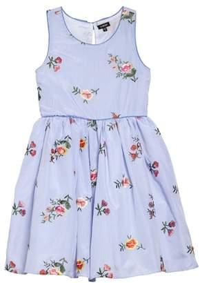 Zunie Stripe Embroidered Flower Sleeveless Dress