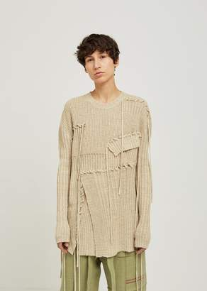J.W.Anderson Patchwork and Lace Knit Crew Neck Sweater