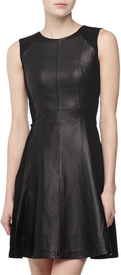 Neiman Marcus Leather-Front Fit-and-Flare Dress