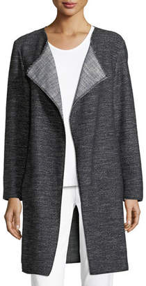 Eileen Fisher Tweed Fray-Edge Long Jacket