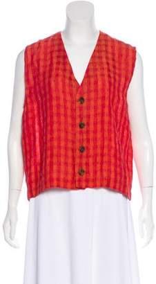 eskandar Linen Gingham Vest