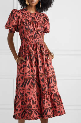 Ulla Johnson Indah Printed Cotton-poplin Midi Dress - Brick