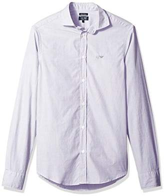 Armani Jeans Men's Striped/Check Basic Long Sleeve Button Down Shirt