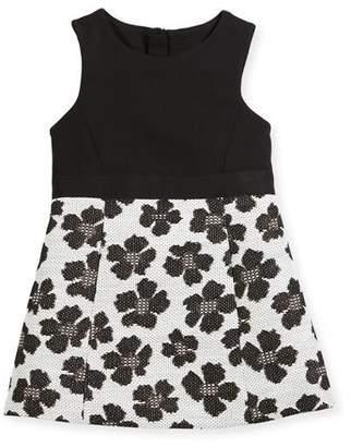 Milly Minis Metallic Jacquard Panel Dress, Size 4-7