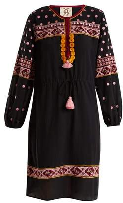 Figue Savannah Embroidered Cotton Blend Dress - Womens - Black Multi