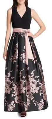 Eliza J Self-Tie Floral Gown