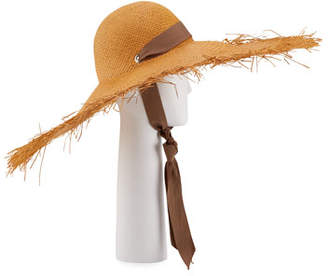 b4a9eff5bafa51 Sensi Studio Straw Wide Brim Panama Hat w/ Self-Tie Ribbon