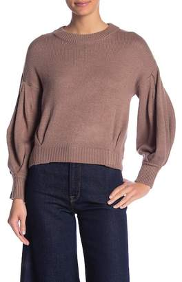 Absolutely Cotton Pleated Sleeve Crew Neck Sweater