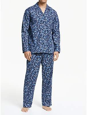 John Lewis & Partners Floral Print Cotton Pyjama Set, Blue