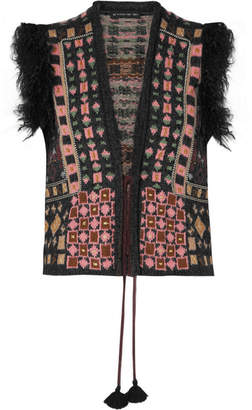 Etro Faux Fur-trimmed Jacquard-knit Vest - Black