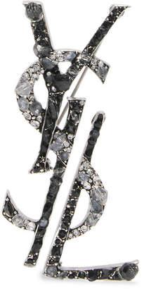 Saint Laurent 镀钌、水晶、搪瓷胸针