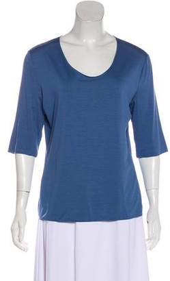 Armani Collezioni Scoop Neck Three-Quarter Sleeve Top