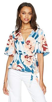 Paris Sunday Women's Short Sleeve Kimono Wrap Tie Front Satin Top