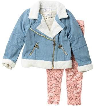 Nicole Miller Top, Faux Fur Trim Denim Moto Jacket, & Sequin Front Leggings Set (Little Girls)