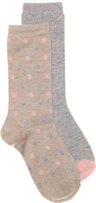 Via Spiga Cashmere Dot Crew Socks - 2 Pack - Women's