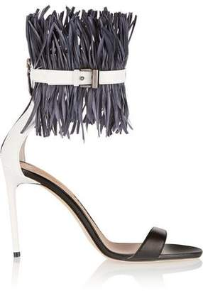 Reed Krakoff Feather-Embellished Patent-Leather Sandals