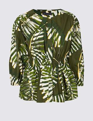 Marks and Spencer Pure Cotton Palm Print 3/4 Sleeve Blouse